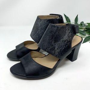 Naturalizer Black Snakeskin Leather Sandals 7 W